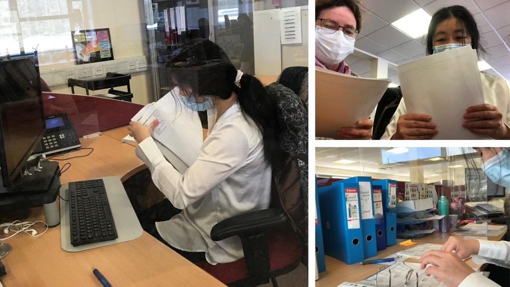 Three Photos of a participant providing admin support. One working at a desk, one reading documents with an Employment Advisor. Third photo shows an admin assistant filing.